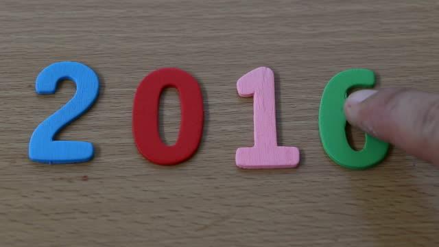 Jahr zwei tausend und sechzehn Finger schieben eine Nummer sechs und sieben in Jahr zwei tausend und siebzehn importiert.