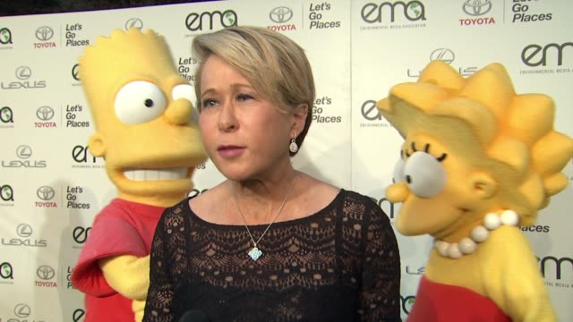 interview yeardley smith on the simpson's 17 ema nominations over the years at 25th annual environmental media awards in los angeles ca - environmental media awards stock videos & royalty-free footage