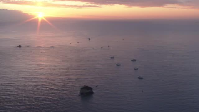 aerial, year's first sunrise in matsushima bay, miyagi, japan - moody sky stock videos & royalty-free footage