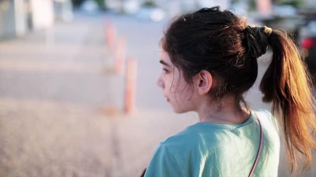 8-9 years girl walking street - 8 9 years stock videos & royalty-free footage