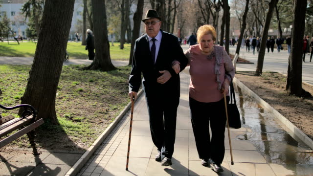60 years in marriage. Elderly couple walking hand in hand in the spa park