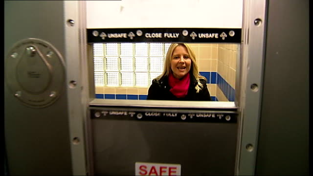 25 years of TV programme 'The Bil' South London INT Reporter to camera as gets locked into cell at Sun Hill Police Station