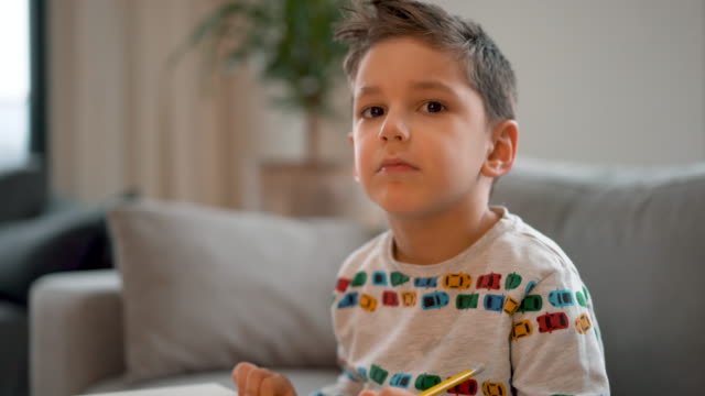 4-5 years old little boy don't want to do his homework - 4 5 years stock videos & royalty-free footage