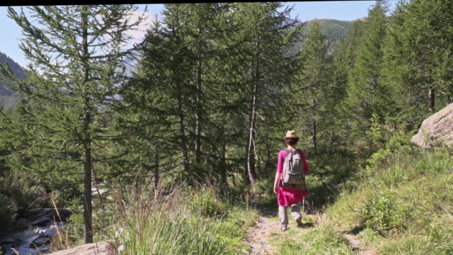 stockvideo's en b-roll-footage met 50 years old woman huking on formazza valley. - 50 54 years