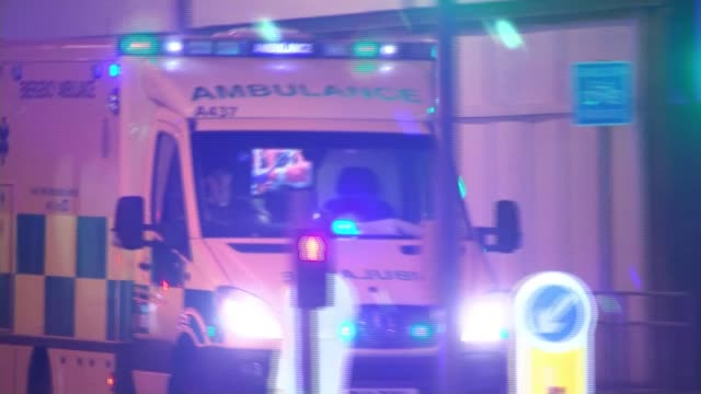 25 years since ira bombs killed two in warrington ambulance along as responding to manchester arena bombing various of police at scene - manchester arena stock videos & royalty-free footage