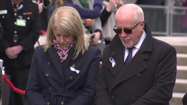 25 years since ira bombs killed two in warrington princess anne attends memorial service wreaths being laid as bagpiper plays lament sot / choir... - years stock videos and b-roll footage