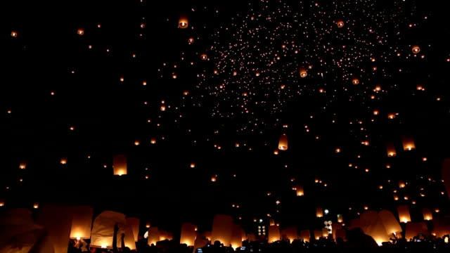 yee peng,chiang mai province, thailand - sky lantern stock videos and b-roll footage