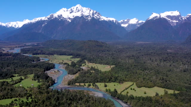 yelcho river valley, pumalin national park, patagonia, chile - mountain range stock videos & royalty-free footage