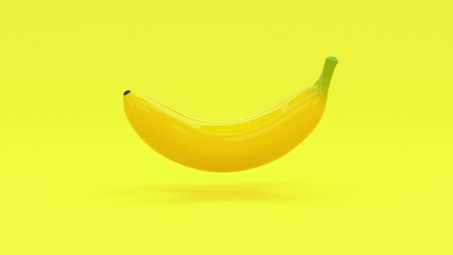 yellow abstract banana cartoon style 3d rendering food/fruits healthy concept - single object stock videos & royalty-free footage