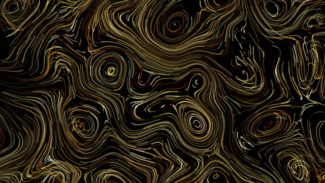 yellow abstract line swirl pattern background, van gogh style - line art video stock e b–roll