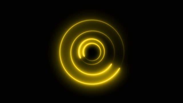 vidéos et rushes de fond de tunnel de cercle de boucle abstrait jaune - infini