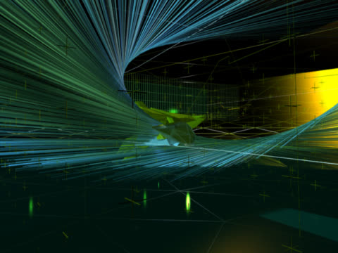 a yellow and green 'spaceship', formed of crystalline shapes, is the focal point for this clip. as it spins on its axis, around it a chaos of spiralling lines and other shapes floats around. - interlocked stock videos & royalty-free footage