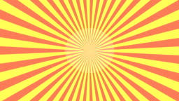 Yellow and red Starburst Sunray vector loop background.