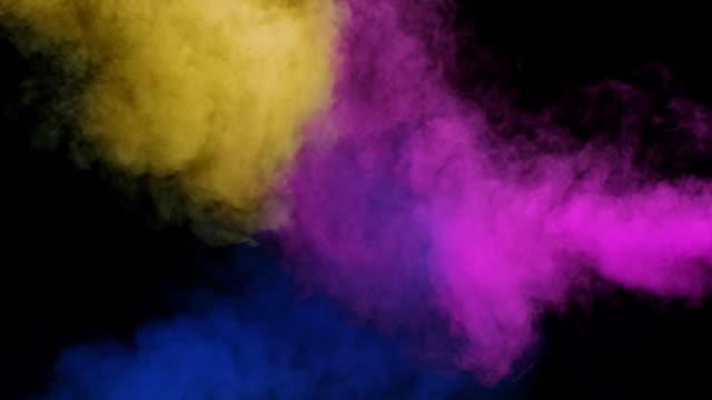 vidéos et rushes de slo mo jaune, bleu et magenta fumée fusion - heurter