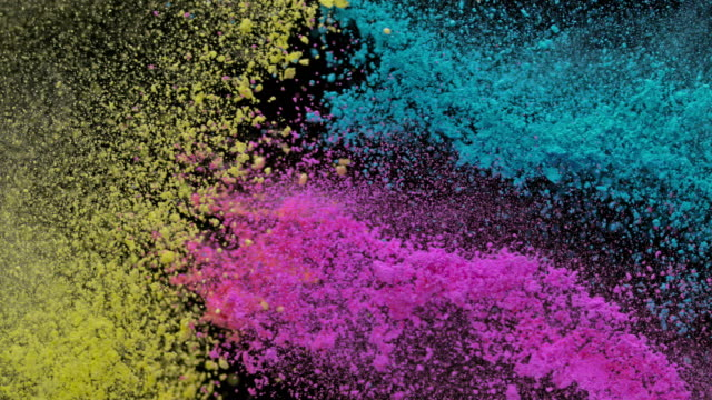 slo mo yellow, blue and pink dust collision - rosa video stock e b–roll