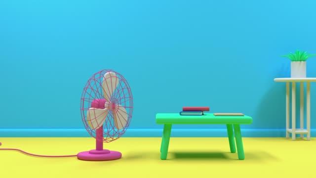 vídeos y material grabado en eventos de stock de amarillo azul sala de dibujos animados estilo libro de mesa estudio concepto de educación 3d - estudio habitación