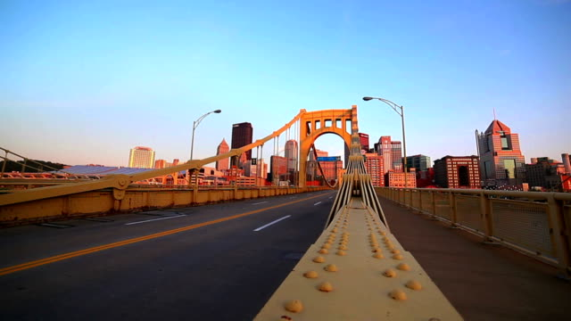 yellow bridge to downtown - cityscape - pittsburgh stock videos & royalty-free footage