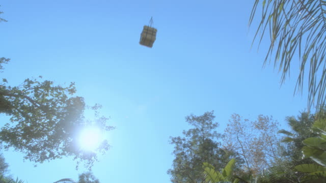 a yellow crate attached to a red parachute falls into the jungle. - crate stock videos & royalty-free footage