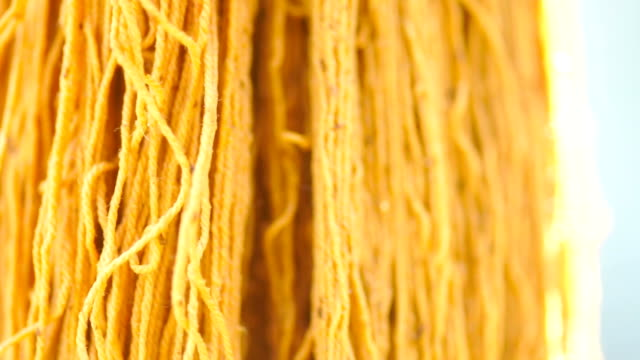 Yellow dye cotton thread fabric for sewing.