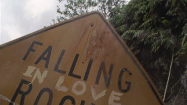 CU, TU, TD, Yellow Falling rock sign at hillside, Maui, Hawaii, USA