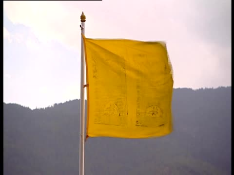 A yellow flag flaps in the breeze