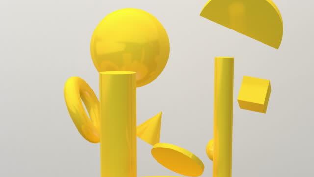 黃色幾何運動流在白色背景,3d渲染,概念:抽象背景,運動圖形,黨。 - 現代 風格 個影片檔及 b 捲影像