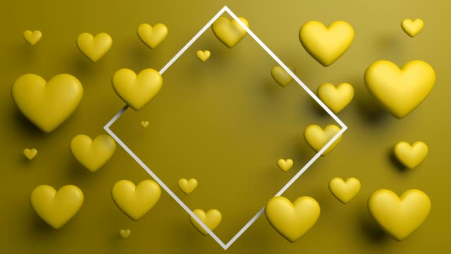 yellow glossy looped hearts with frame - retro poster stock videos & royalty-free footage