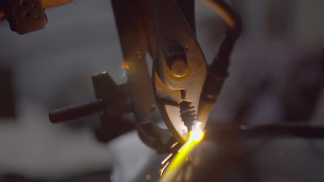 Yellow glow at seam of sheet metal being welded together
