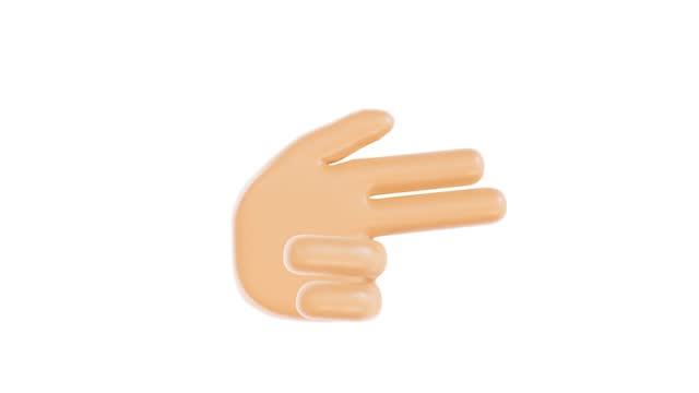 yellow hand showing shoot or bang gesture. two fingers pointing into something and one finger up animation. gesture. emoticon. emoji button. 3d render. seamless loopable. isolated background. easily can be transparent with any editing software - finger stock videos & royalty-free footage