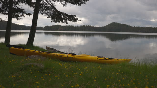 yellow kayak lying on the grass on a mountain lake shore. - pinaceae stock videos & royalty-free footage