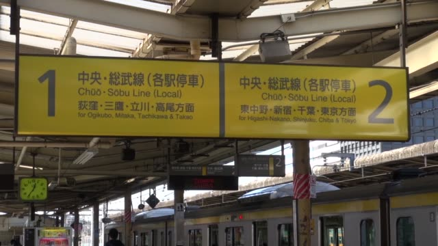 Yellow metro signs at station in Tokyo Signs are for HigashNakano Shinjuku Chiba Tokyo in Japanese and western script