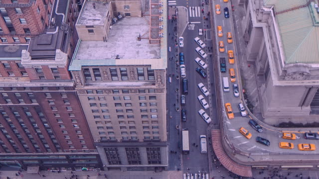 yellow new york taxi cabs at grand central station - yellow taxi video stock e b–roll