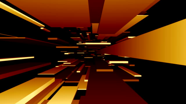 Gelb/Orange Blocks Tunnel Loop/abstrakte futuristisch Animation