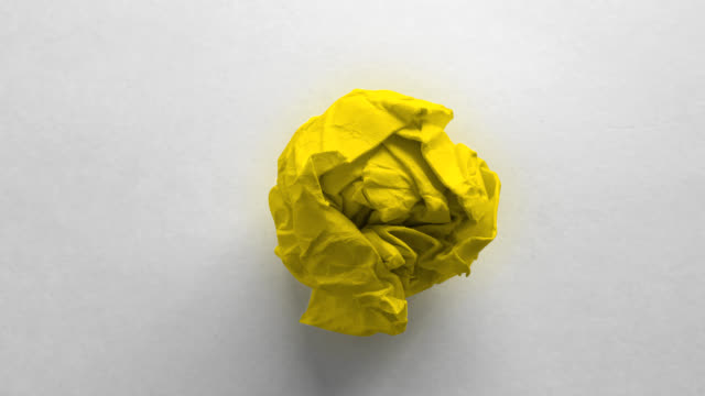 yellow paper ball wrinkled - yellow stock videos & royalty-free footage