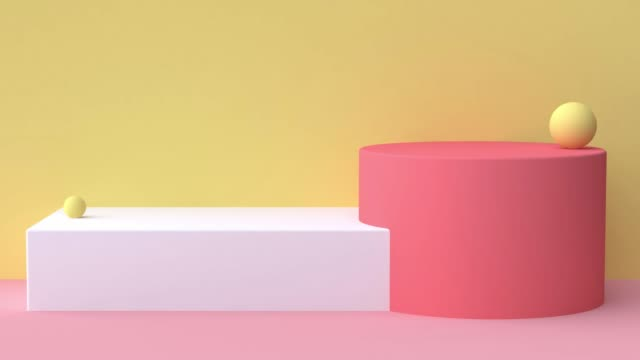 yellow red pink white scene abstract geometric shape 3d rendering motion graphic - copy space stock videos & royalty-free footage