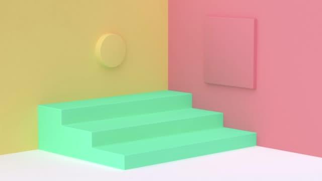黄色い赤い壁のコーナーの白い床の緑の形3d 張り裂けるの幾何学的な動きのブランクスペース表彰台 - パステルカラー点の映像素材/bロール