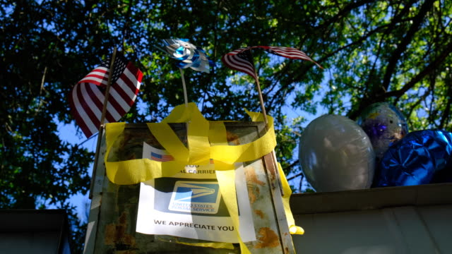 yellow ribbons on a mailbox bloomington indiana united states a united states post office letterbox in the hyde park neighborhood of bloomington... - societal symbol stock videos & royalty-free footage