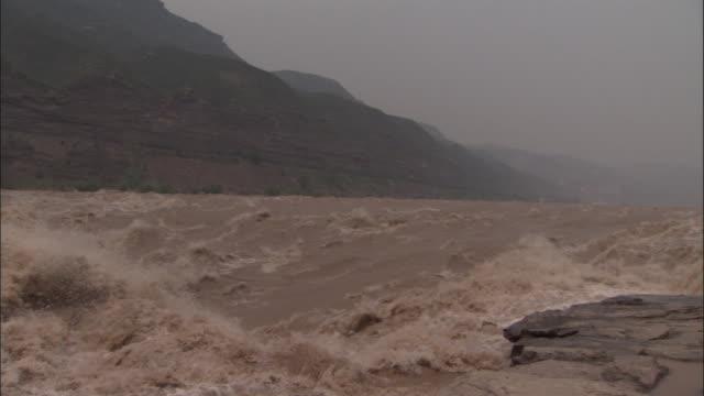 Yellow river rushes towards Hukou Falls, China