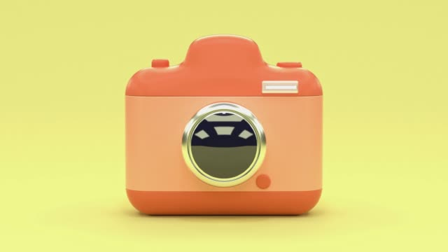 yellow scene pink camera cartoon style 3d rendering technology photography concept - three dimensional stock videos & royalty-free footage