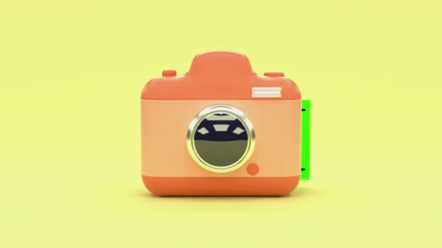 yellow scene pink camera cartoon style blank green screen postcard levitation 3d rendering technology photography concept - postcard stock videos and b-roll footage