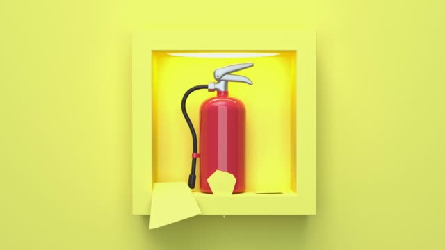 yellow scene red tank fire extinguisher smoke safety concept abstract motion 3d rendering cartoon style - simplicity stock videos & royalty-free footage