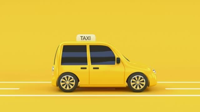 stockvideo's en b-roll-footage met gele scene taxi rijden cartoon stijl business transport city concept 3d rendering - yellow taxi