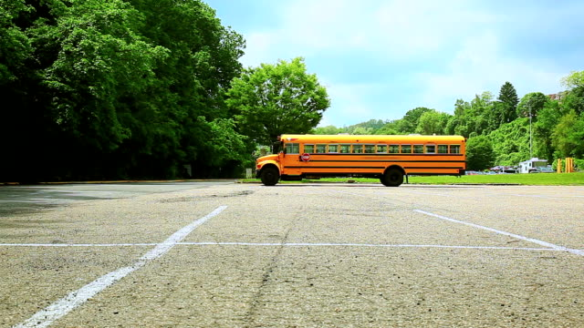 Yellow school bus on the parking