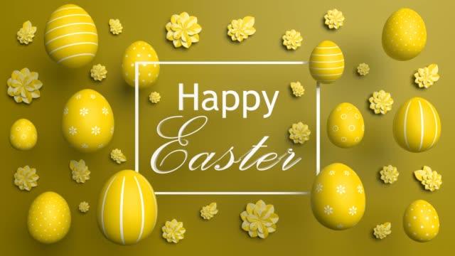 黄色のいくつかの素敵なハッピー イースター ターニング卵 - 玉子点の映像素材/bロール
