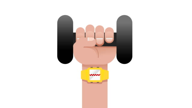 yellow smart watch sport,fitness application concept on touchscreen showing the heart rate with a heart while a hand working out with a dumbbell motion loop able 4k video,fitness technology,health,smartphone,healthy life, body building concepts - human limb stock videos & royalty-free footage