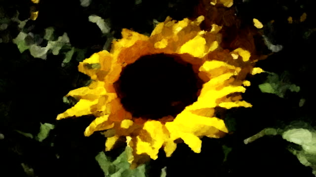 a yellow sunflower sways in a gentle breeze like a moving impressionistic painting. - impressionism stock videos & royalty-free footage