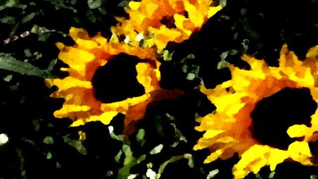 yellow sunflowers sway in a gentle breeze like a moving impressionistic painting. - impressionism stock videos & royalty-free footage