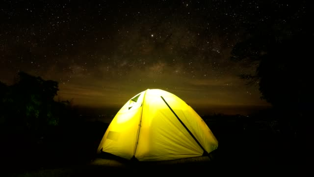 yellow tent with  milky way on sky of thailand. - tent stock videos & royalty-free footage