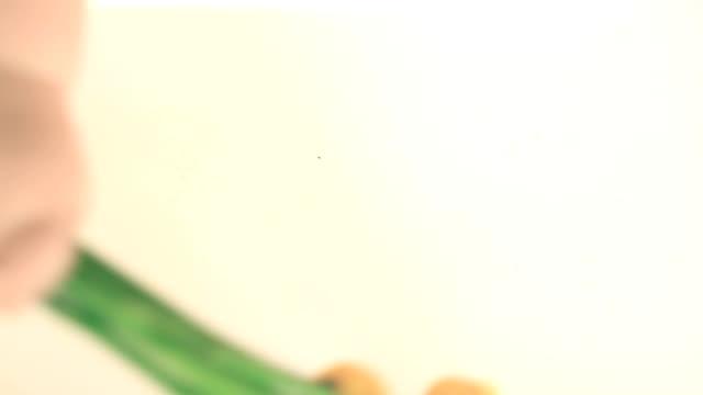 vídeos y material grabado en eventos de stock de tulipanes amarillos en la mano del niño, divertido, humor - narrating