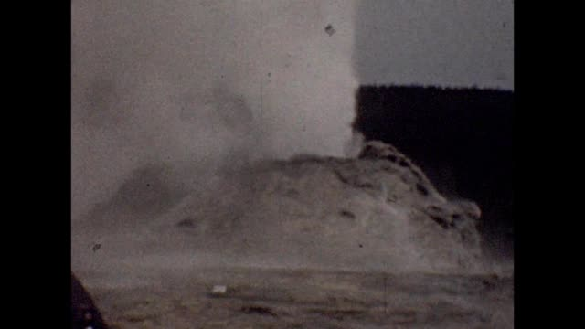 1947 yellowstone geysers and hot springs - old faithful stock videos & royalty-free footage